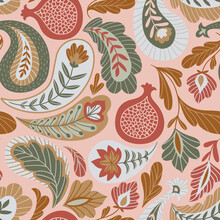 Magical Traditional Paisleys Seamless Pattern For Fabric Design Or Wallpaper. Hand-drawn Textile Print In Pink And Beige Colors.  Vector Illustration.