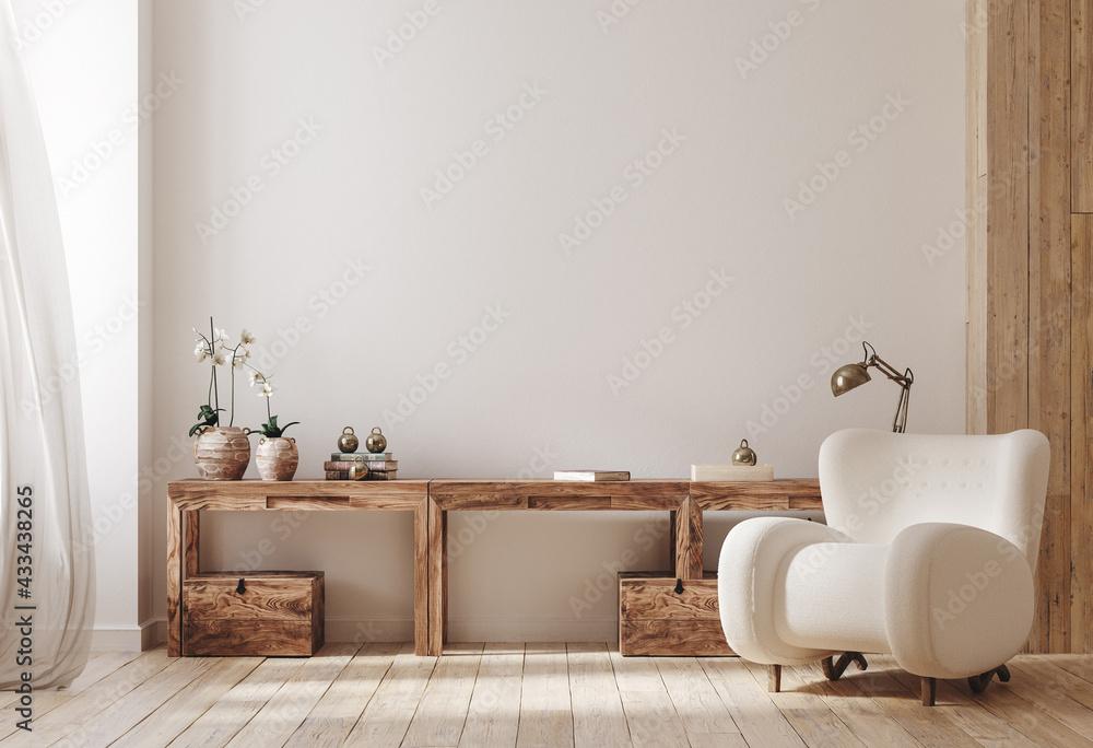 Cozy farmhouse living room interior, 3d render - obrazy, fototapety, plakaty