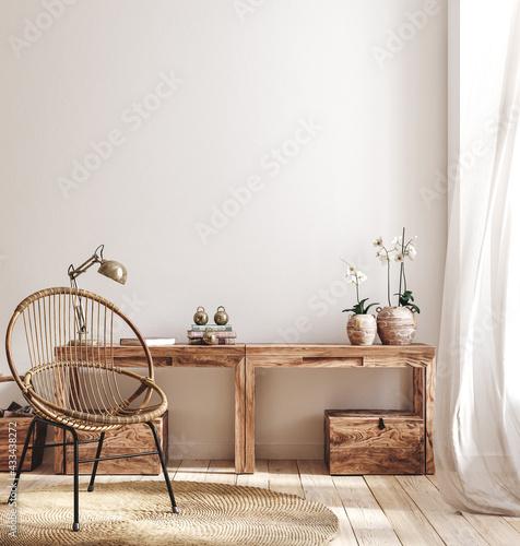 Fototapeta Cozy farmhouse living room interior, 3d render obraz