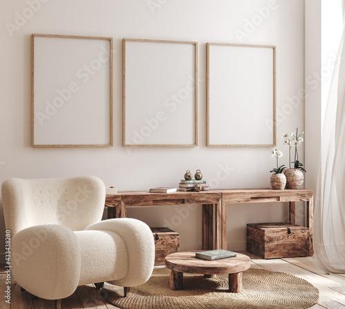 Fototapeta Mockup frame in farmhouse living room interior, 3d render obraz