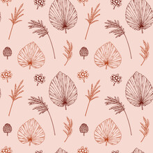 Hand Drawn Botany Seamless Pattern With Dried Palm Leaves And Pampas Grass. Vector Illustration In Sketch Style. Modern Floral Design