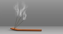 Aroma Sticks Incense With Realistic Smoke 3d Vector Illustration. Aroma Stick On Wooden Stand Isolated On Transparent Background. Aromatherapy And Meditation