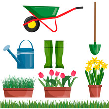 Set. Gardening Tools. Grow. Isolated Over White Background. Shovel And Garden Boots Watering Can, Whellbarow On The Background. Flowers In Pots, Tulips, Daffodils, Green Grass Vector.