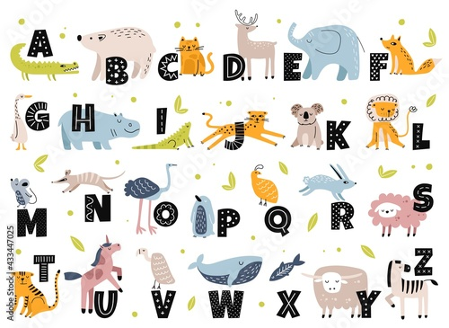 Naklejka premium Animal alphabet in scandinavian style. Cute elephant, fox, bear, unicorn. Hand drawn cartoon animals with letters for kids education vector set. Latin or English language for children