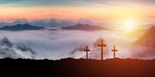 Three Crosses On A Mountain With A Sunset Background. Religious Concepts (Illustration)