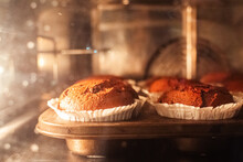 Close-up Of Muffins In The Oven. The Job Of A Pastry Chef. Cooking A Chocolate Cupcake.