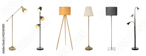 Fotografie, Obraz Set with different stylish floor lamps on white background