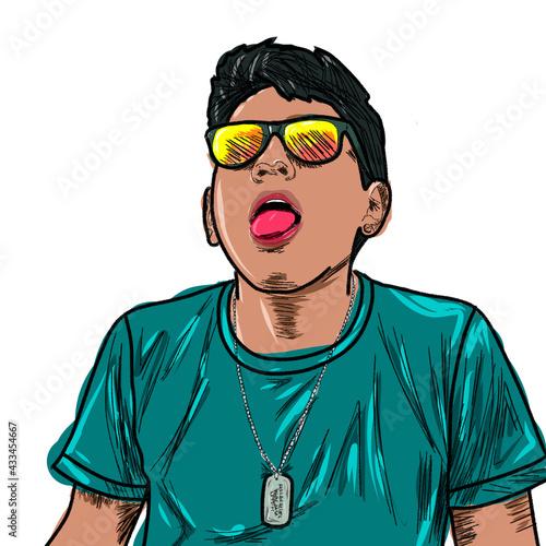 Fototapeta Ilustración de chico juvenil con gafas amarillas sacando la lengua y camiseta azul con fondo blanco, dibujado el 12 de mayo de 2021, Quito, Ecuador. obraz