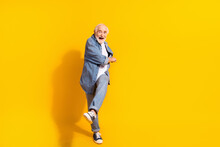Full Body Photo Of Funky Happy Cheerful Old Man Dance Feel Young Good Mood Isolated On Yellow Color Background