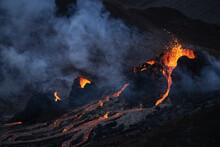 Volcanic Eruption In Mt Fagradalsfjall, Southwest Iceland. The Eruption Began In March 2021, Only About 30 Km Away From The Capital Of Reykjavik.