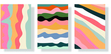 Three Abstract Background Sets Draw By Hand Into Various Shapes And Object Doodles. Trendy Modern Contemporary Vector Illustration Every Background Is Isolated In Pastel Colors With Modern Frames And