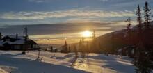 Sunset In The Mountains Gudbrandsdal Norway Faavang Fåvang