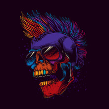 Abstract Vector Illustration. Crazy Skull In Dark Glasses, With A Punk Rock Hairstyle On His Head. T-shirt Design, Stickers, Print.