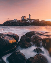 Sunrise At Nubble Light, York Maine.