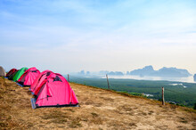 Samed Nangchee Viewpoint With Tents In Sunrise Time, Phangnga, Thailand