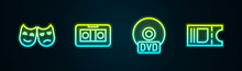 Set Line Comedy And Tragedy Masks, VHS Video Cassette Tape, CD Or DVD Disk And Cinema Ticket. Glowing Neon Icon. Vector