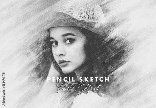 Fototapeta Vintage Pencil Sketch Photo Effect Mockup obraz