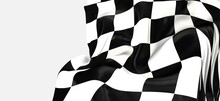 White And Black Flag Checkered For Race. 3d