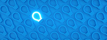 One Glowing Light Bulb Icon Standing Out From The Unlit Incandescent Bulbs On Blue Background, Individuality And Different Creative Idea Concepts, 3D Rendering, Panoramic Pattern