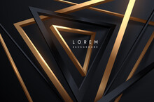 Abstract Black And Gold Triangles Background