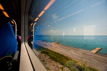 View From The Train Window To The Black Sea. Travel By Train Along The Black Sea.