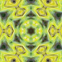 Yellow Green Kaleidoscope Floral Pattern Abstract Background. Digital Graphic Art Style Image. Textile Print On Canvas Or Wood Carving Imitation. Decorative Ideas.