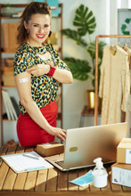 Happy Stylish Small Business Owner Woman In Office