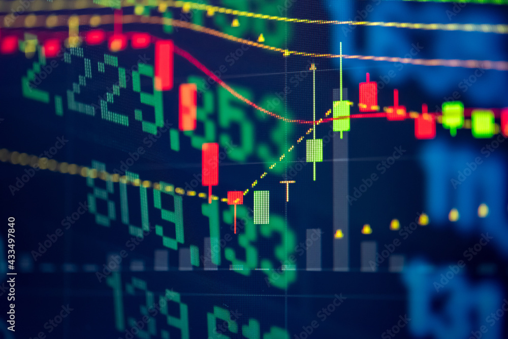 Fotografie, Obraz Financial data of stock market in term of a digital prices on LED display