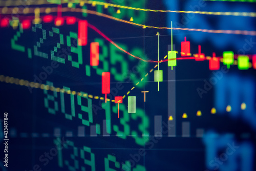 Fototapeta Financial data of stock market in term of a digital prices on LED display