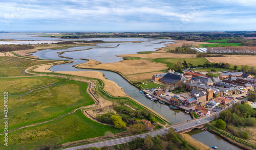 Obraz na płótnie An aerial view of the River Alde at Snape Maltings in Suffolk, UK