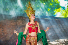 Beautiful Girl With Costume Apsara From Cambodia Concept, Identi