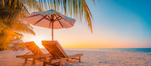 Tranquil Tropical Sunset Scenery Couple Sun Bed Loungers, Umbrella Palm Tree Leaves. White Sand Sea View Horizon, Colorful Twilight Sky, Calmness Relaxation. Luxury Vacation Travel Beach Resort Hotel