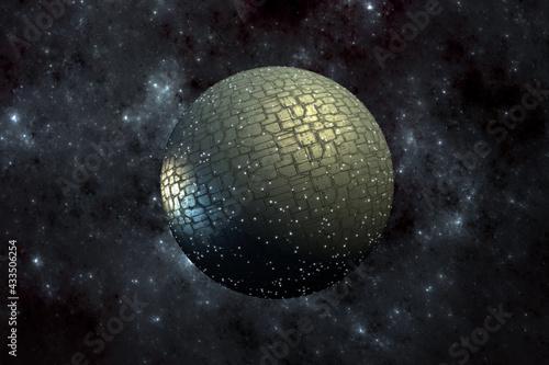 Canvas-taulu Spherical spacecraft in deep space travel