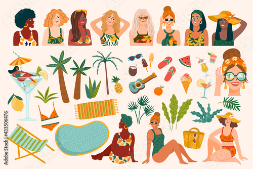 Vector set of summer illustrations. Cute women, tropical beach, holliday, vacation, travel. Design elements - fototapety na wymiar