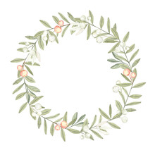 Minimalistic Herbal Wreath In Vintage Style. Soft Reserved Color Range, Watercolor Hand Painted Elements.