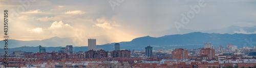 Fotografie, Obraz Cityscape of Madrid (Spain) on a rainy day