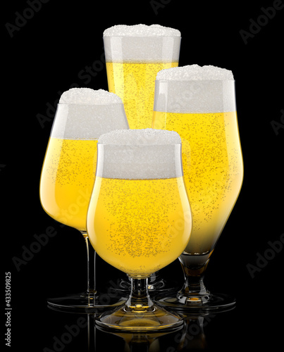 Obraz Set of fresh stout beer glasses with bubble froth isolated on black background. - fototapety do salonu