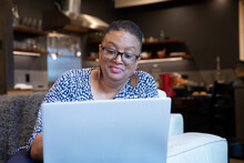 African American Woman Working With Laptop
