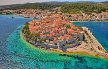 Aerial Shot Of The Old Medieval Town As Korcula Center