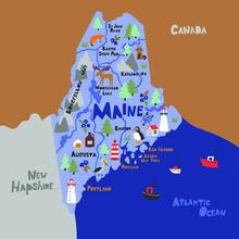 Maine Infographic Flat Hand Drawn Vector Illustration. American State Map Isolated On Blue Background. Maine Travel Routes, Landmarks With City Names Lettering Cartoon Cliparts