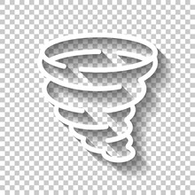 Tornado Or Storm, Weather, Simple Icon. White Linear Icon With Editable Stroke And Shadow On Transparent Background