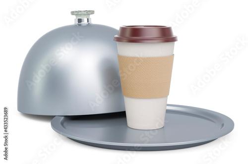 Obraz Restaurant cloche with hot drink, 3D rendering - fototapety do salonu