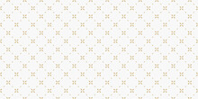 Golden Minimal Floral Geometric Seamless Pattern. Simple Vector White And Gold Abstract Background With Small Flowers, Tiny Crosses, Grid, Lattice. Subtle Minimalist Repeat Wide Texture. Luxury Design