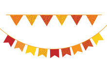 Bunting Flags Vector. Decorative Banners On White Background. Festa Junina Decoration Element.