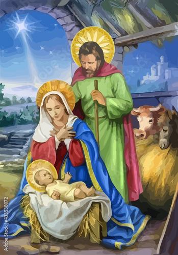 Carta da parati christmas holy family baby jesus nazareth bible birth illustration