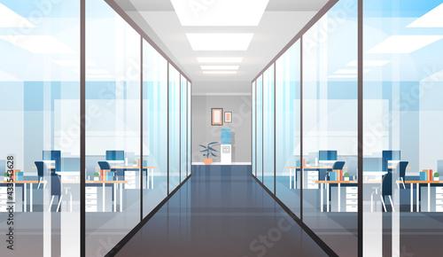 Fototapeta empty coworking area no people open space modern office interior horizontal obraz