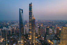 Night View Of Lujiazui, The Financial District In Shanghai, China, Aerial Shot.