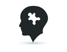Head With Puzzle Icon. EPS 10