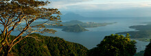 Taal Lake In Batangas, Philippines Showing Taal Volcano In A Panoramic View, Late Afternoon.