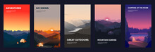 Collection Of Mountain And River Landscapes For Banner, Web Site, Social Media. Editable Vector Illustration With Summer Camping, Overnight Near To Bonfire In Tent